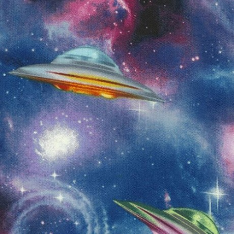 Galaxy fabric with spaceship ufo by timeless treasures for Timeless treasures galaxy fabric