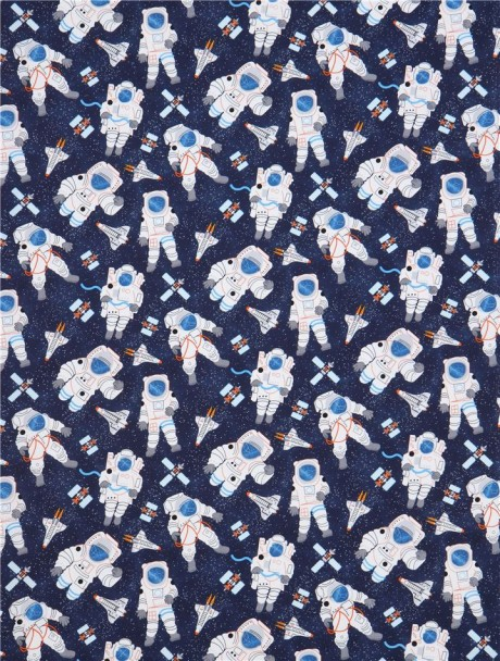 Navy blue with astronaut rocket satellite fabric timeless for Space themed fleece fabric