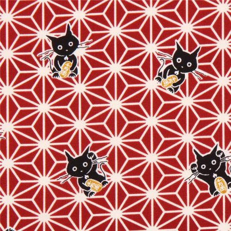 Wine red fortune cat animal japanese asanoha star pattern for Star design fabric