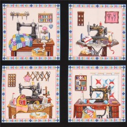 Brown Black Fabric With Square Fire Fighter Theme Quilting