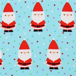 Light Blue Turquoise Fabric With Santa Christmas By