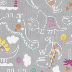 Fuchsia fabric with dinosaur skeleton by dear stella usa for Grey dinosaur fabric
