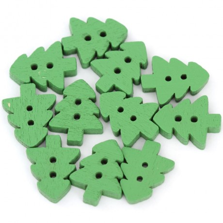 Green Christmas tree button set with 10 pieces