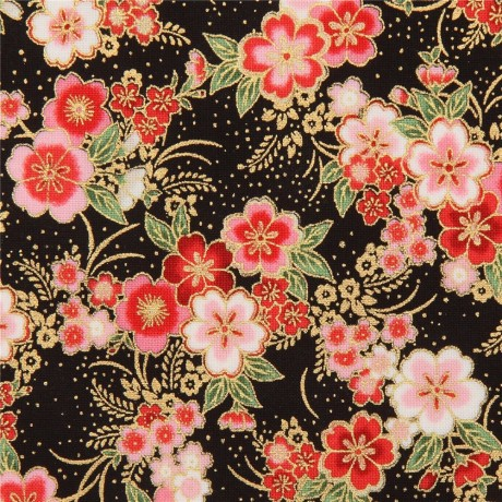 "100/% Cotton Ethnic Cherry Blossom Floral Gold Foil Fabric 60/"" Top Quality"