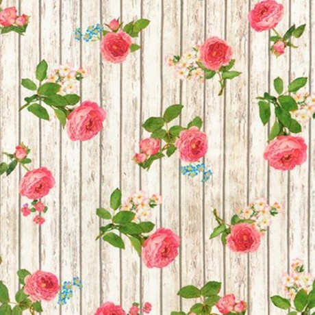 Digital Garden Roses Colorful Rose Flower Blossoms Cotton Fabric by the Yard