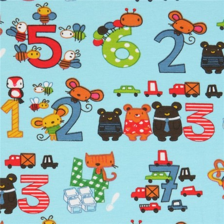 4d92acac261 Stof France knit fabric with animals and dragons in blue - Kawaii ...