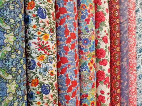 red Satin Silk little flowers tana lawn fabric by the yard