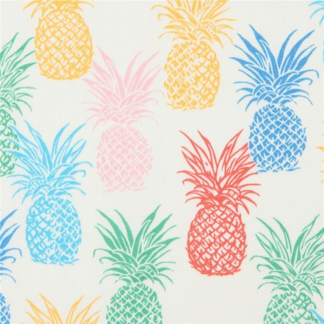 Trans Pacific Textiles Colorful Pineapple Fabric In Cream Kawaii Fabric Shop