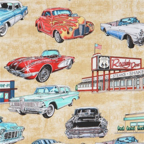 Beige Fabric With Car Vehicle Transport Diner Quilting Treasures