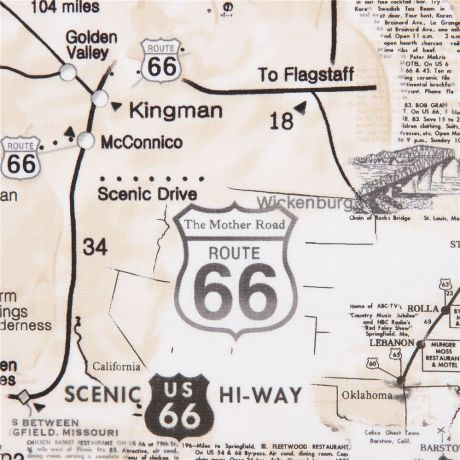beige map route 66 sign text fabric by Timeless Treasures - Kawaii on