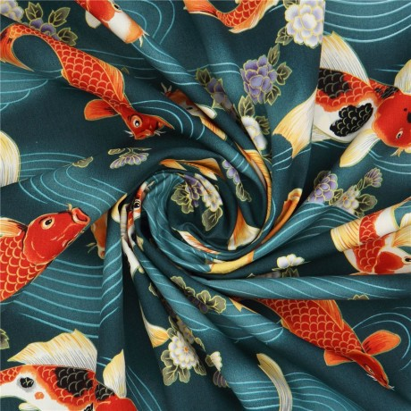 Koi Fish Fabric In Teal By Trans Pacific Textiles Kawaii