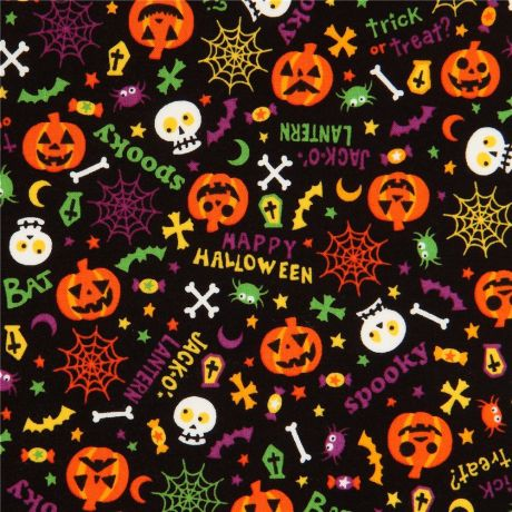 Halloween Fabric Material Black Pumpkins