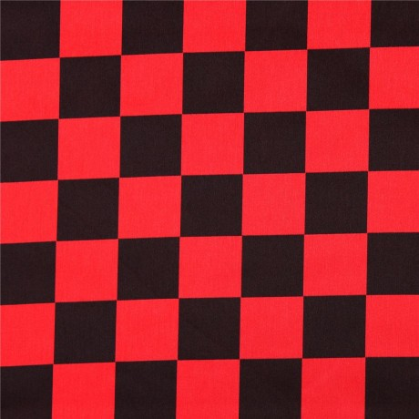 Black And Red Square Checkered Polyester Satin Fabric By Kokka Japan