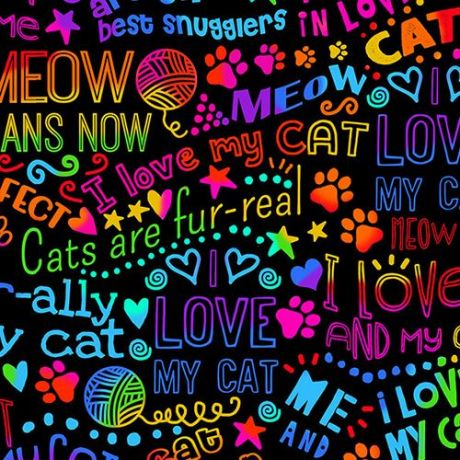 DOGS WORDS I LOVE MY DOG BRIGHT COLORS COTTON FABRIC FQ
