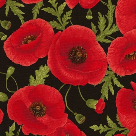 Black Fabric With Red Poppy Flower Green Leaf By Timeless Treasures