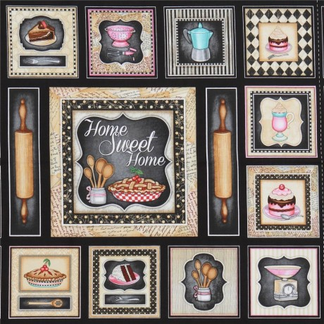 tessuto nero quadrati rettangoli accessori per cucina Quilting Treasures -  Kawaii Fabric Shop