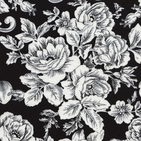 Black fabric with white flower leaf by timeless treasures kawaii black fabric with white flower leaf by timeless treasures mightylinksfo