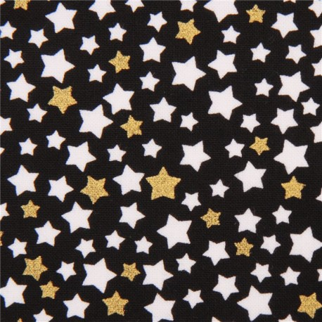 black gold star metallic fabric by Timeless Treasures - Kawaii ...