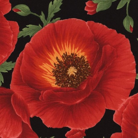 Black Large Red Poppy Flower Fabric By Timeless Treasures Kawaii