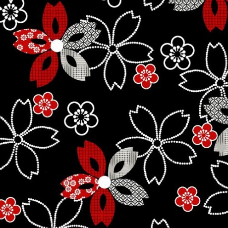 black white dot red flower fabric by studioe essentials 10