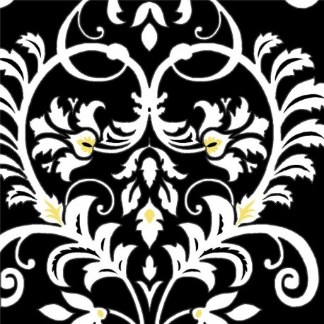 black white yellow flower leaf pattern fabric by Henry Glass ...