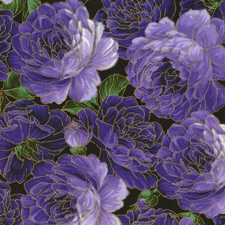 Tessuto Nero Fiori Viola Decorazioni Dorate Timeless Treasures Kawaii Fabric Shop