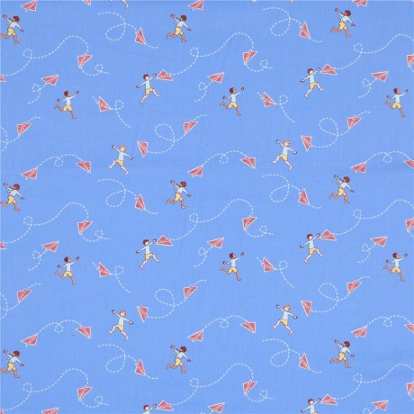 Blue michael miller fabric children chasing airplanes for Childrens airplane fabric