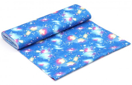 Blue oxford fabric with outer space theme by kokka for Space themed fleece fabric