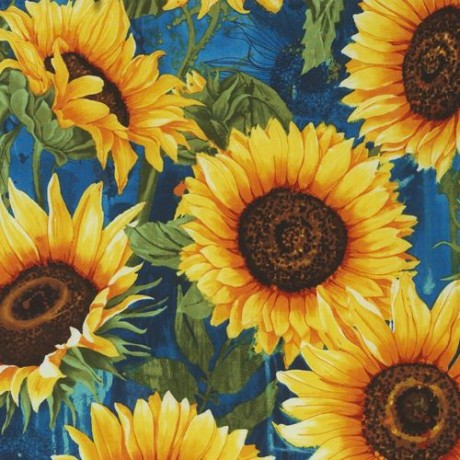 Blue with big yellow sunflower fabric by timeless treasures kawaii blue with big yellow sunflower fabric by timeless treasures mightylinksfo