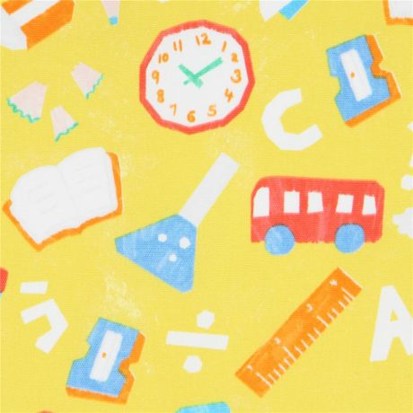 chartreuse yellow with bus pencil school theme oxford fabric by