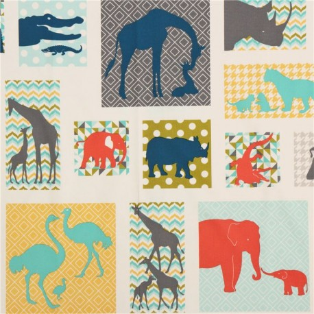 Giraffe Elephant Lion Croc blue 100/% cotton fabric by the yard