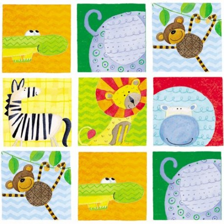 colorful animal square flannel fabric by henry glass kawaii fabric