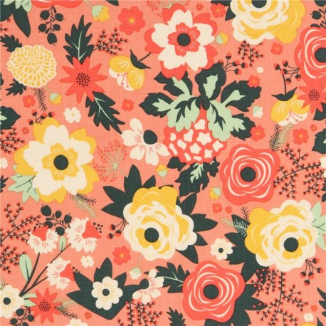 Coral riley blake coral cream yellow flower fabric kawaii fabric shop coral riley blake coral cream yellow flower fabric mightylinksfo