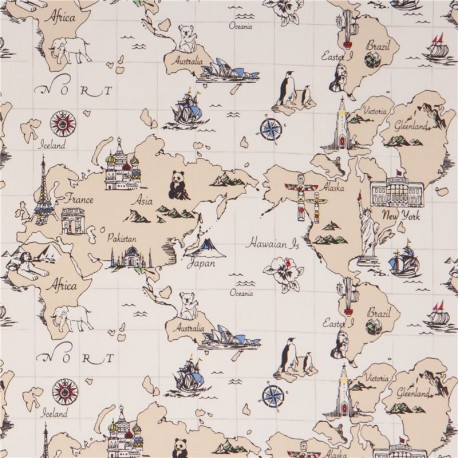 Cream world map country continent oxford fabric by kokka kawaii cream world map country continent oxford fabric by kokka gumiabroncs Gallery