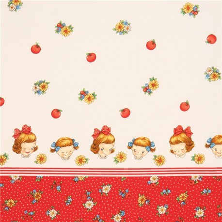 Cream cute margaret and sophie children double border for Cute childrens fabric