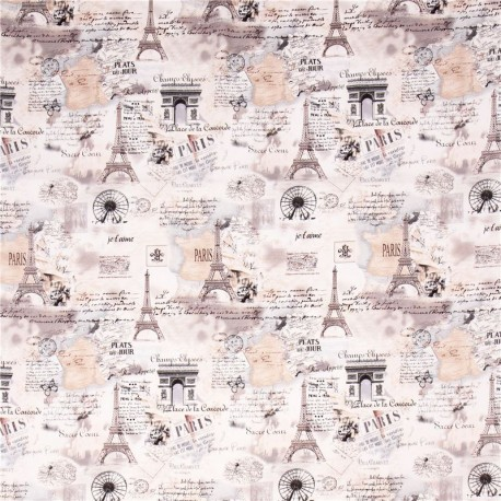 Cream Retro Paris Eiffel Tower Fabric By Timeless Treasures - Paris map fabric