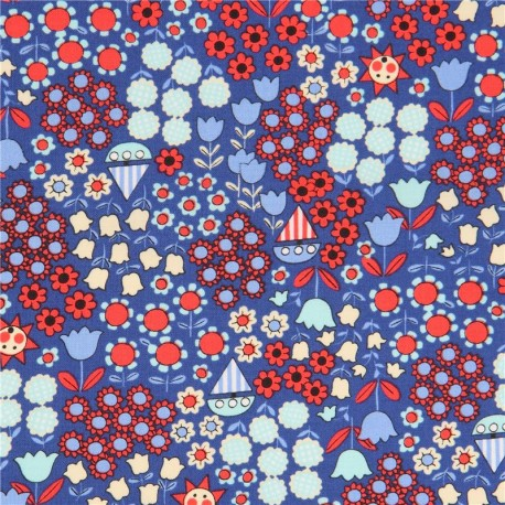 Dark Blue With Red Light Flower Fabric From An