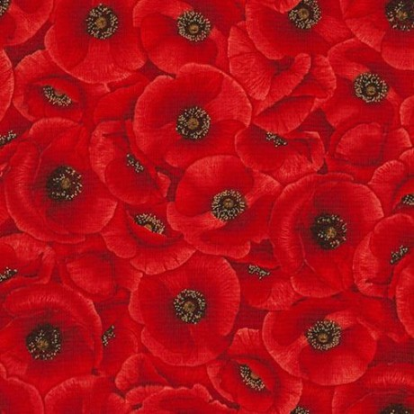 Fabric With Red Poppy Flower By Timeless Treasures Kawaii Fabric Shop