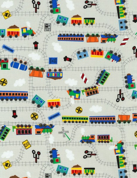 Grey fabric with train transport by timeless treasures for Fabric with trains pattern