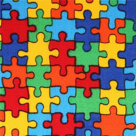 Kawaii Fabric With Colourful Jigsaw Puzzle Pieces USA