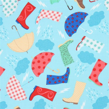 574403dbf630 light blue fabric with colorful umbrella boot by Timeless Treasures ...