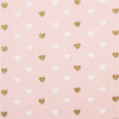 light peach fabric with mini white gold glitter heart by Michael ...