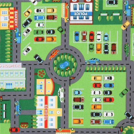 map with car town city building road street oxford fabric by kokka