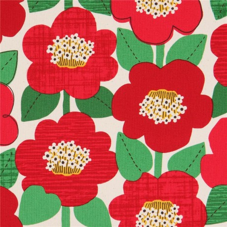 Natural Color Oxford Fabric With Big Flowers By Cosmo Kawaii