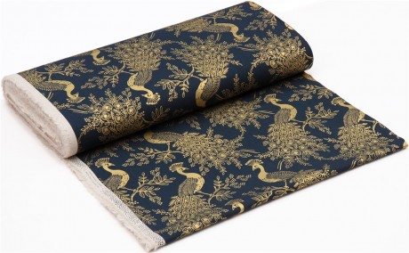Royal Peacock Navy Cotton Linen Canvas Menagerie Rifle Paper Co for Cotton and Steel Fabric