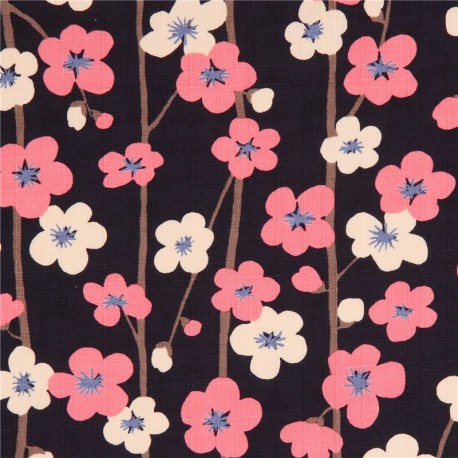 Navy Blue Structured Cute Pink Light Cream Flower Dobby Fabric From