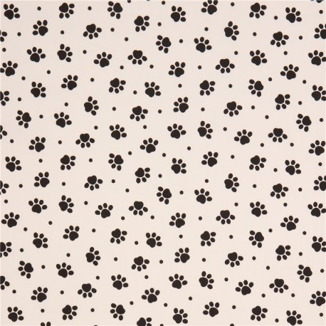Off White With Black Animal Paw Print Laminate Fabric From Japan