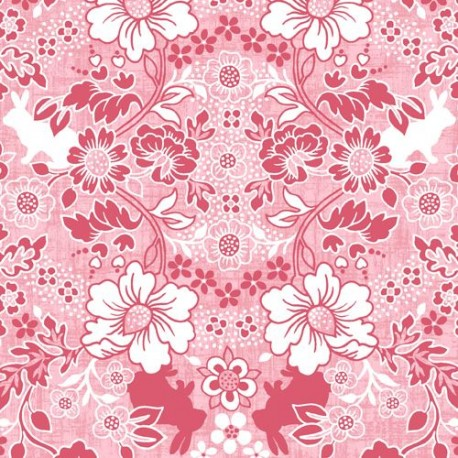 Pink white flower rabbit animal fabric by studioe hugs kisses pink white flower rabbit animal fabric by studioe hugs mightylinksfo