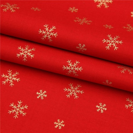 Red Christmas.Red Christmas Fabric From Japan With Metallic Gold Snowflakes Kawaii Fabric Shop