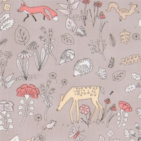 taupe fabric with deer hedgehog frog animal by Dear Stella USA ...